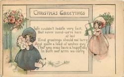 CHRISTMAS GREETINGS  verse, two girls in bonnets, standard rose bushes behind
