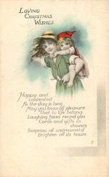 LOVING CHRISTMAS WISHES, verse, girl in green dress carries younger one piggy-back