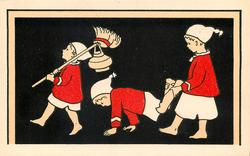 three children in white night dresses & red cloaks walk left, led by one with broom and pot over shoulder, middle child walks on hands with legs supported by last child
