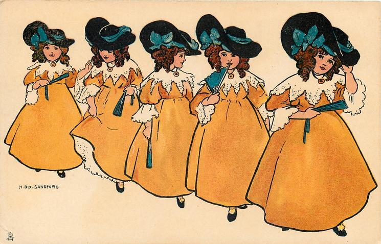 five girls in wide brimmed hats and yellow dresses hold blue fans
