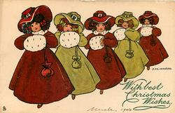 five girls in winter costume