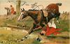 I'M OFF  horse gallops left, rider falling underneath horse
