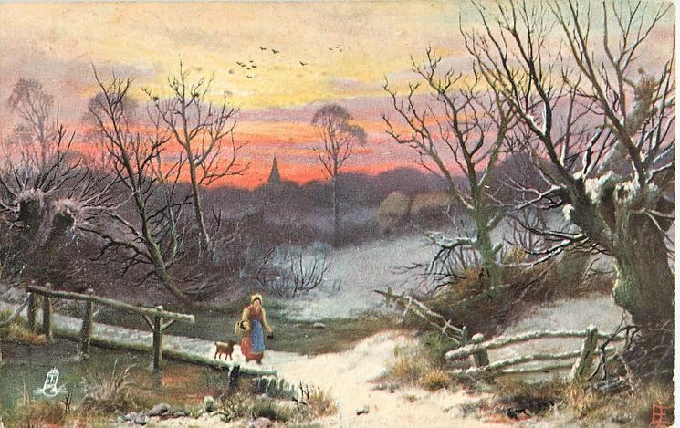 woman walking across bridge with dog following, church steeple in far distance