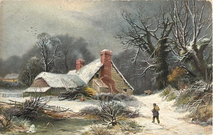 man with bag slung over shoulder walking in snow toward cabin