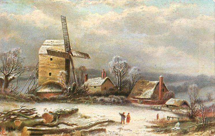 three people walking in snow, large windmill at left