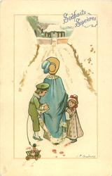 going to church, boy pulling cart with little girl's doll in it, mother in middle walking through snow
