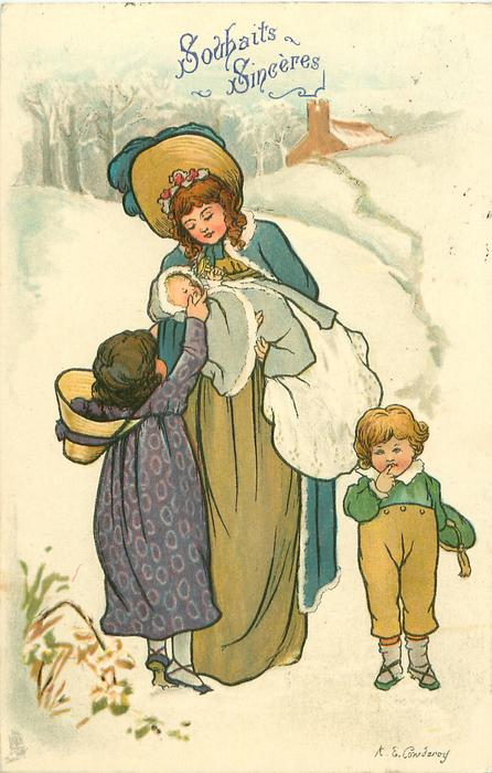 mother with babe in arms, girl in purple dress caresses baby, boy stands with finger to lips