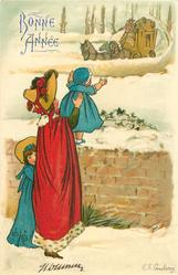 woman in purple holds blue clothed baby on snow covered wall, blue clothed girl behind her, coach approaches
