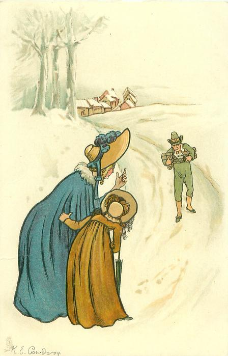 woman and girl wait for a man carrying presents, three trees and houses near top