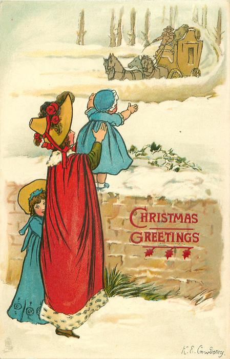 woman in red holds blue clothed baby on snow covered wall, blue clothed girl behind her, coach approaches