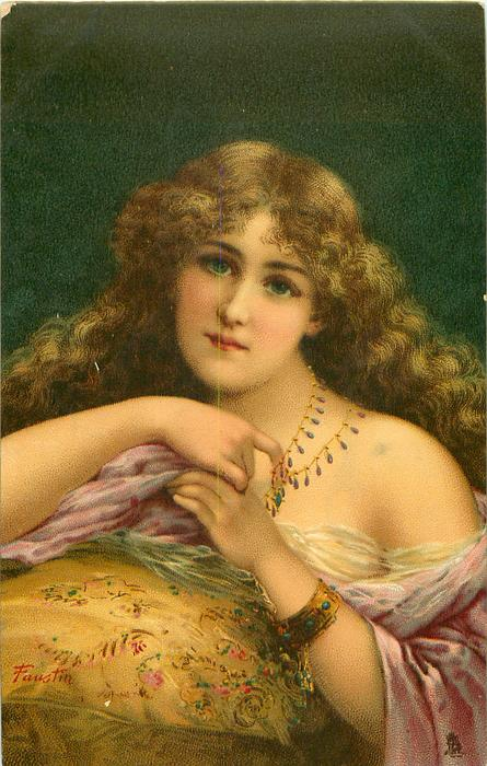woman with long brown hair, flimsy wrap, holding  hands together in front of chest, looking front
