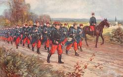 L'INFANTERIE column of infantry march right, officer is mounted