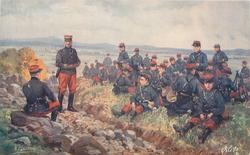 L'lNFANTERIE many soldiers sitting at rest grass right of ditch, officer sitting on rock left and sergeant stands