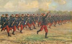 L'INFANTERIE (with or w/o EN AVANT, A LA BAYONNETTE soldiers advancing in formation across field led by sergeant with sword raised