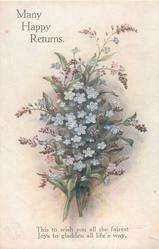 MANY HAPPY RETURNS  blue forget-me-nots