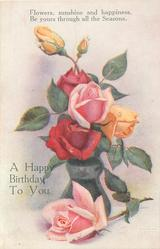 A HAPPY BIRTHDAY TO YOU  roses in vase, one lying beside