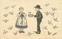 girl left with hands clasped across her chest,boy right holds out basket of Easter eggs, many birds fly around, two on ground