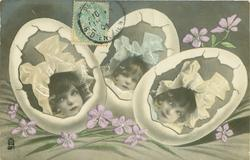 girls face set in three Easter eggs, violets around