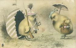 chick sentry carrying rifle stands in front of egg sentry box, greeted by chick carrying parasol & basket of eggs