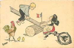 boy & see-saw using German symbolic staff as seat, cock & two chicks observe front left