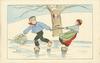 boy slides left on ice carrying mistletoe & pulling girl along behind him