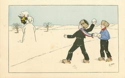 two boys snowball an effigy of the Kaiser as snowman, have knocked off his helmet