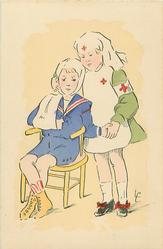 girl as red cross nurse stands holding hand of boy as wounded soldier sitting in chair
