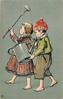 boy and girl with watering can