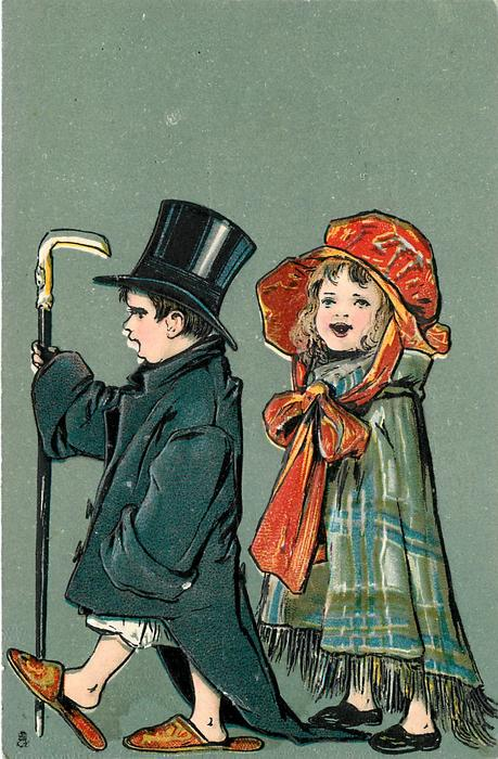 boy and girl dress up in adult clothes
