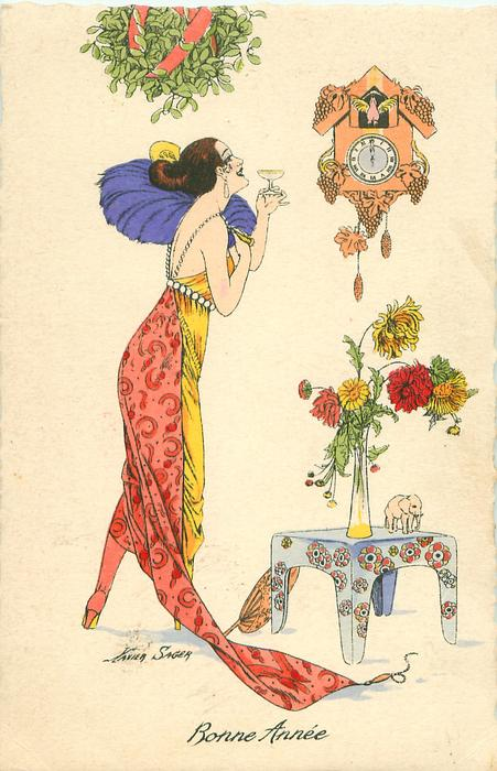lady in trailing red/yellow dress under mistletoe raises her glass to cuckoo clock striking the new year, flowers on table