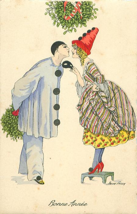 Pierrot left holding mistletoe behind his back, Pierrette stands on stool to kiss him, mistletoe above