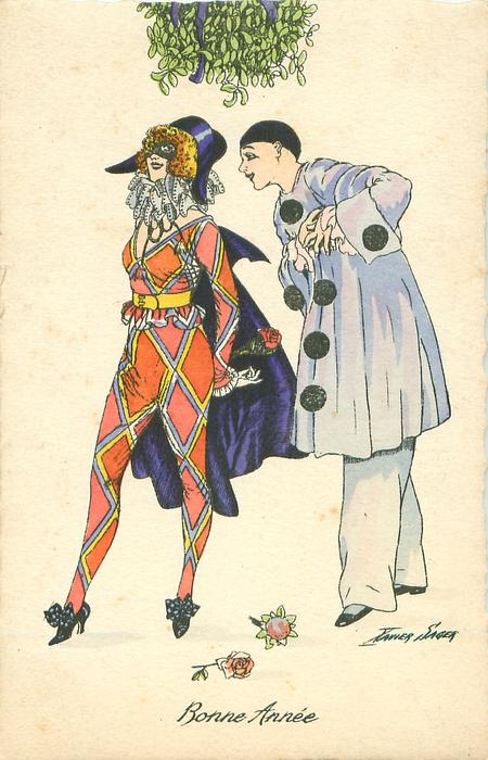 Pierrot right & Pierrette left stand under mistletoe, two roses on ground & another in her hand