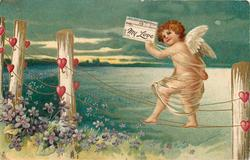 cupid walks on fence wires carrying telegram MY LOVE  hearts on posts