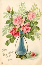MANY HAPPY RETURNS OF THE DAY  pink roses in a blue vase
