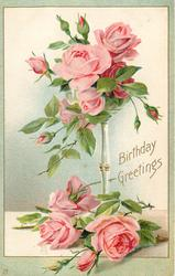 BIRTHDAY GREETINGS  pink roses