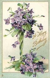 A HAPPY BIRTHDAY  violets in tall green glass