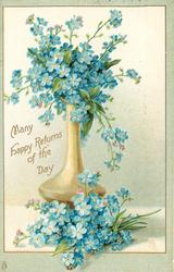 MANY HAPPY RETURNS OF THE DAY  blue forget-me-nots in tall ochre vase
