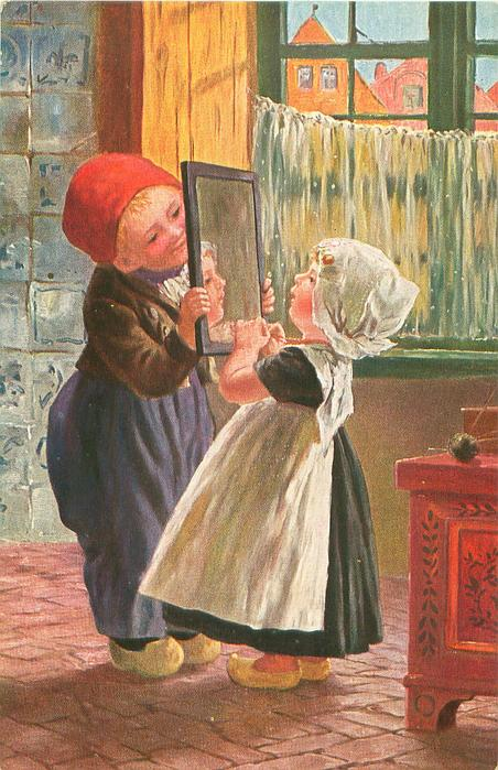 girl looks intently at her image in mirror held by boy