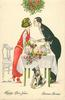man & woman about to kiss under mistletoe hung above dinner table, dog below with wish bone