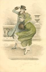 snow scene, woman in green or purple bends forward against the wind, man behind holds on to his hat, both face left, look front