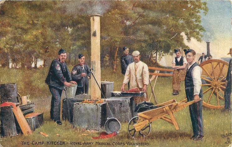 THE CAMP KITCHEN, ROYAL ARMY MEDICAL CORPS VOLUNTEERS