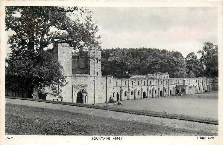FOUNTAINS ABBEY from left side on top of hill