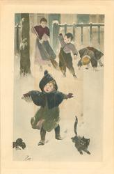 two boys behind snowball girl & cat front, mother sweeps snow