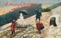 four children snowball, snowman left centre has umbrella, girl in red bends over