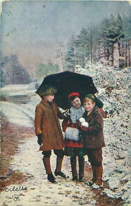 two boys & girl under umbrella, boy on right has snowballs