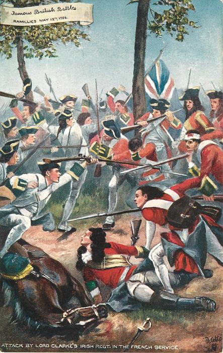 ATTACK BY LORD CLARK'S IRISH REGT. IN THE FRENCH SERVICE-RAMILLIES