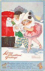 LOVING CHRISTMAS GREETINGS  children as Pierrot & Pierrette post letters