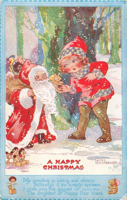 A HAPPY CHRISTMAS  short Santa, golly in sack