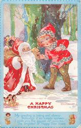 A HAPPY CHRISTMAS  short Santa, golly in sack