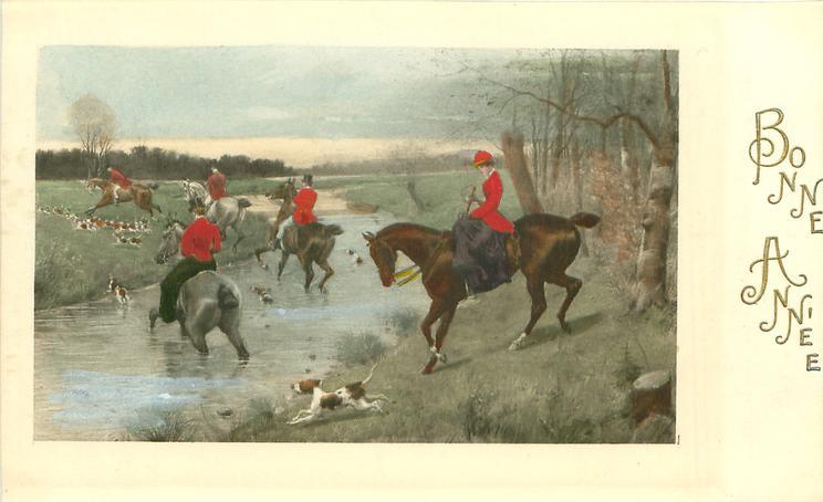 woman rider prepares to cross stream & follow the hunt left
